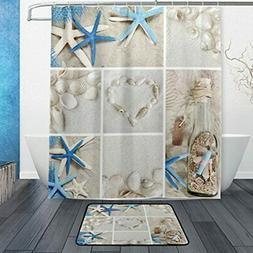 Set Of 2 Beach Ocean Sea Theme 60 X 72 Inches Shower Curtain