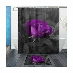 ALAZA Set of 2 Purple Flower 60 X 72 Inches Shower Curtain a