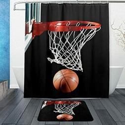 Set Of 2 Sports 60 X 72 Inches Shower Curtain And Mat Set, B
