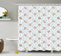 Ambesonne Shabby Chic Shower Curtain, Classical Peony Flower