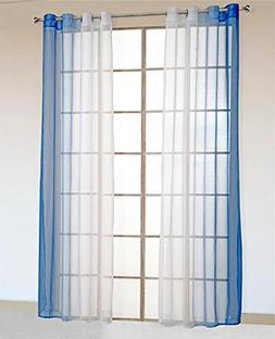 86 York 2 Piece Sheer Voile Window Curtain Grommet Panels fo