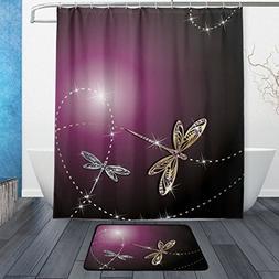 Shiny Dragonfly Shower Curtain Mat