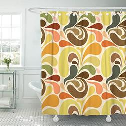 Emvency Shower Curtain 1970S Retro Abstract Floral Pattern 1