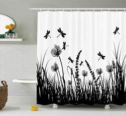 Ambesonne Nature Shower Curtain, Grass Bush Meadow Silhouett