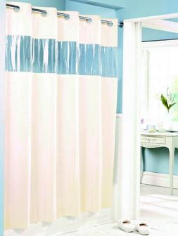 "Hookless Shower Curtain White 71/"" x 74/"" Vinyl Vision See Thru Window 8 Gauge"