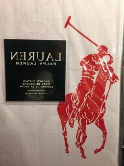 "RALPH LAUREN SHOWER CURTAIN 72"" x 72 RED polo pony 100% COTT"