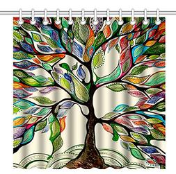 Wknoon 72 x 72 Inch Shower Curtain,Abstract Colorful Tree Of