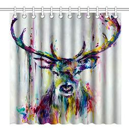 Wknoon 72 x 72 Inch Shower Curtain, Abstract Colorful Deer W