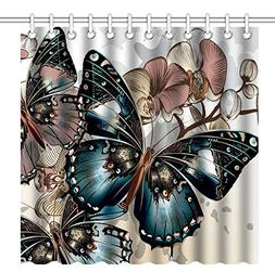 Wknoon 72 x 72 Inch Shower Curtain, Awesome Colorful Butterf