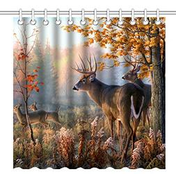 Wknoon 72 x 72 Inch Shower Curtain,Autumn Nature Wildlife An