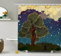 Ambesonne Nature Shower Curtain, Funk Art Stylized Vibrant S