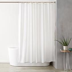 AmazonBasics Shower Curtain with Hooks  - 72 x 72 inches, Wh