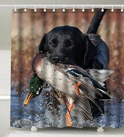 Wknoon 72 x 72 Inch Shower Curtain With Hooks, Duck Hunting