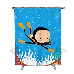 Shower Curtain for Kids Bathroom Decor with Boy Swimming Scu