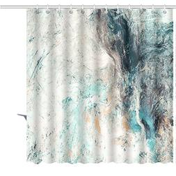 MuaToo Shower Curtain abstract beautiful blue and white soft
