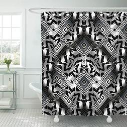 TOMPOP Shower Curtain Abstract Greek Key Black Silver Geomet