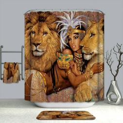 Shower Curtain African Woman and Lions Printing Decor Bath C