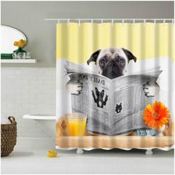 Shower Curtain Art Decor Set - Pug Dog Looking Daily Dog New