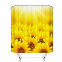 Shower Curtain Art Decor Set Sunflower Printed Waterproof Ba