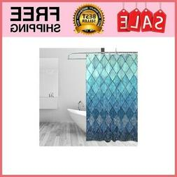 Shower Curtain Backdrop Ocean Blue Teal Mermaid Fish Scales