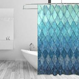 ZOEO Shower Curtain Backdrop Ocean Blue Teal Mermaid Fish Sc