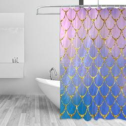 ZOEO Shower Curtain Purple Mermaid Scales Marble Fish Light