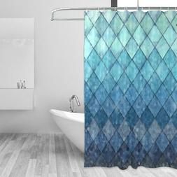 ALAZA Shower Curtain Backdrop Royal Blue Mermaid Scales Geom
