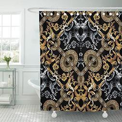 TOMPOP Shower Curtain Baroque Black Damask with Vintage Gold