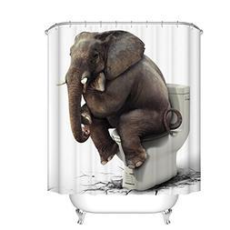 Fangkun Shower Curtain Art Bathroom Decor Elephant Sitting o