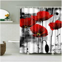Shower Curtain Bathroom Decor Set Red Flower Ink Painting Ar