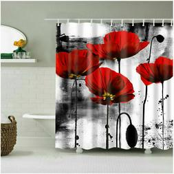 Shower Curtain Bathroom Decor Set Red Flower Ink Painting Ar
