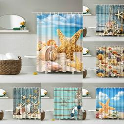 Shower Curtain Beach Ocean Sea Shell Starfish Fishing Nets T