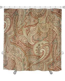 Gear New Shower Curtain Beige Tan Ivory Paisley Pattern Fanc