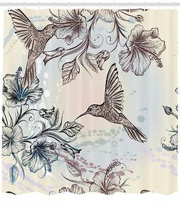 Shower Curtain Birds Nostalgia Hibiscus Flowers Patterns 70