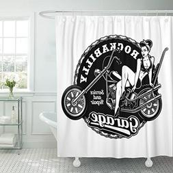TOMPOP Shower Curtain Black Biker Pin Up Girl on Motorcycle