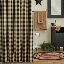 Rustic Country Primitive Wicklow Black Shower Curtain Buffal