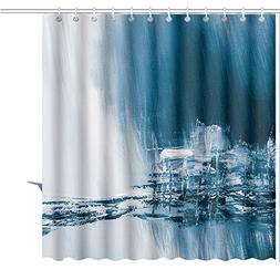 MuaToo Shower Curtain Abstract Background Watercolor Background Abstract Oil Watercolor Art Hand Art Print Polyester Fabric Bathroom Decor Sets with Hooks 48 x 72 Inches Green