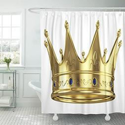 TOMPOP Shower Curtain Blue King Gold Crown White Red Queen R