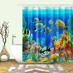 Shower Curtain Blue Ocean Tropical Fish Coral Undersea World