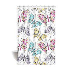 Shower Curtain Butterflies Pattern Polyester Fabric Print Ba