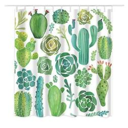 Dodou Shower Curtain Cactus Tropical Plant Pattern Garden Th