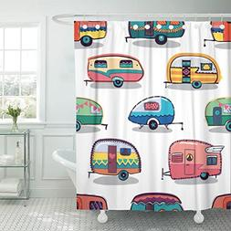 Emvency Shower Curtain Caravan Mid Fifties Cartoonish Camper