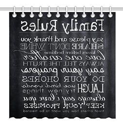 Wknoon 72 x 72 Inch Shower Curtain, Black Chalkboard Art Fam