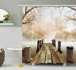 Shower Curtain Collection by Ambesonne Ocean Decor Fall Wood