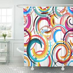 Emvency Shower Curtain Colorful 1960S Abstract Colored Circl