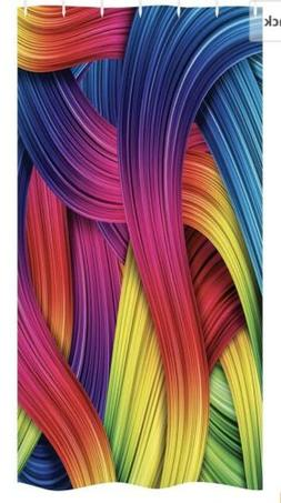 Ambesonne Shower Curtain Colorful Abstract Twirl Wavy Stripe