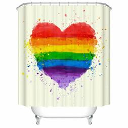 Shower Curtain Decor Colorful Rainbow Love Heart Painting Pa