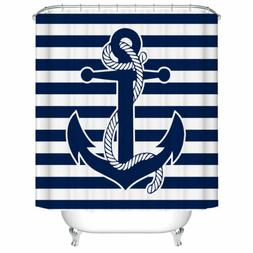 Shower Curtain Decor Set Boat Anchor with Rope Blue Stripes