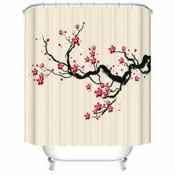 Shower Curtain Decor Set Plum Tree Blossom Ink Painting Patt