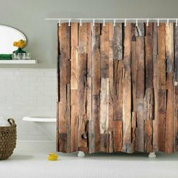 Shower Curtain Decor Set Wooden Board Decorative Pattern Bat